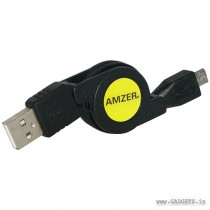 Amzer 82268 Micro USB Retractable Data Cable