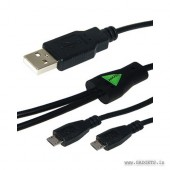 Amzer USB to Dual Micro USB Y Splitter Twin Charging Handy Cable