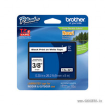 Brother 9mm  Black on White tape for P-Touch 8m TZe-221