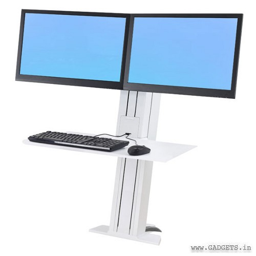 Ergotron WorkFit-SR Dual Monitor Sit-Stand Desktop Workstation Short Surface White 33-419-062