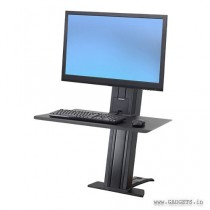 Ergotron WorkFit-SR 1 Monitor Sit-Stand Desktop Workstation Short Surface Black 33-420-085