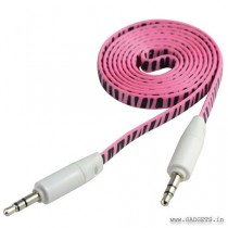 CLiPtec Slim Flat Stereo Audio AUX Cable 1m Pink OCC233