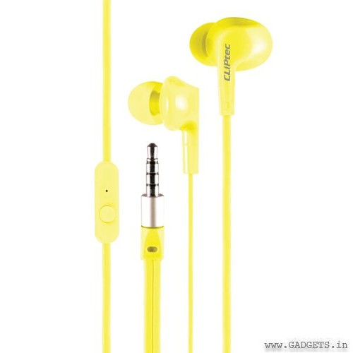 CLiPtec NEON-ROCK In-Ear Earphone with Microphone Yellow BME737