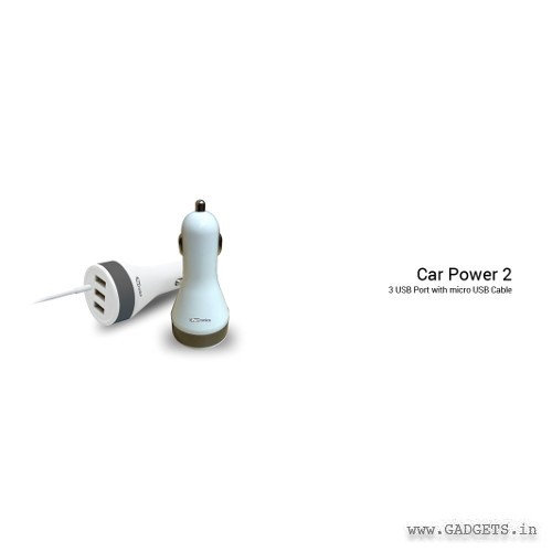 Portronics Car Power 2 USB 3 Port with Micro USB cable POR334