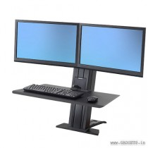 Ergotron WorkFit-SR Dual Monitor Sit-Stand Desktop Workstation Short Surface Black 33-419-085