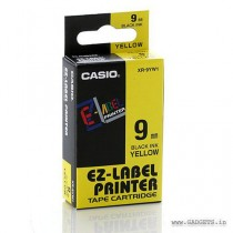Casio XR-9YW 9mm Black on Yellow Casio Tape Cartridge - Pack of 5