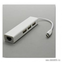 Ultra Prolink Type C Plug To 3 Ports Usb 2.0 Hub With Enthernet 1.5m MP420 White