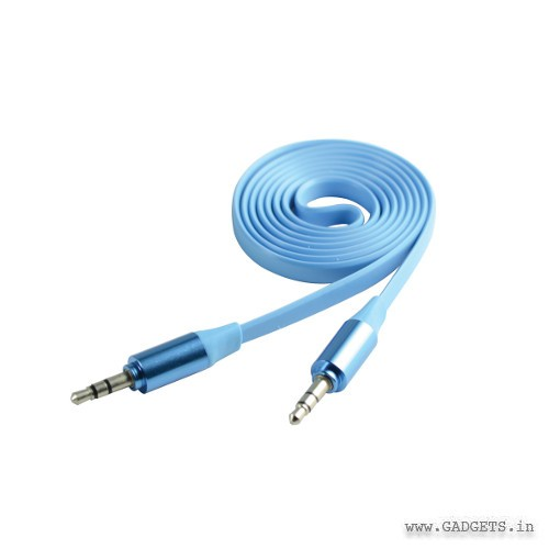 CLiPtec Metallic Slim Flat Stereo Audio Cable OCC232 Blue