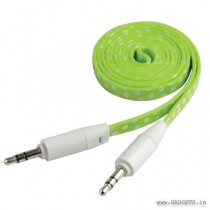 CLiPtec Slim Flat Stereo Audio AUX Cable 1m Green OCC233