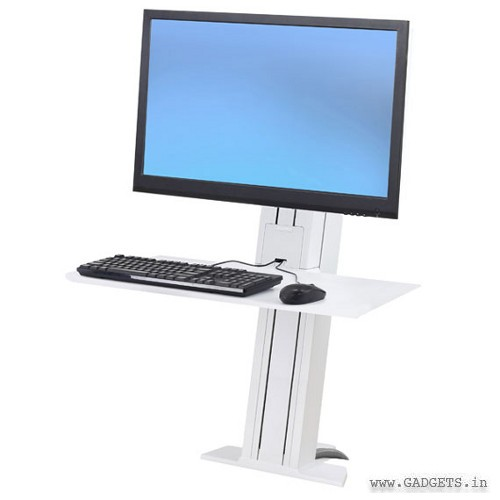 Ergotron WorkFit-SR 1 Monitor Sit-Stand Desktop Workstation Short Surface White 33-420-062