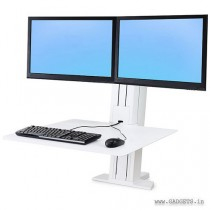Ergotron WorkFit-SR Dual Monitor Sit-Stand Desktop Workstation White 33-407-062