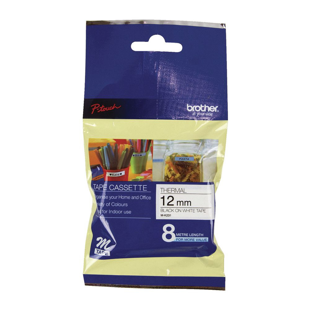 Brother Tape 12mm 8M Black on White Tape (M-K231)