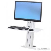 Ergotron WorkFit-SR Hvy Monitor Sit-Stand Desktop Workstation Short Surface White 33-421-062